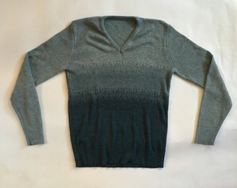 Blue ombre V-neck sweater