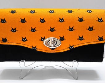 Orange Black Cat Wallet, Womens NCW Cluth Wallet