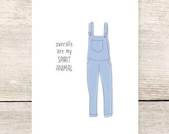 Overalls Spirit Animal Greeting Card, Humorous Greeting Card