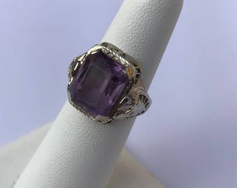 Amethyst Ring, Antique Amethyst Ring 14k White Gold Filigree Band Size 6 Art Deco Ring Antique Engagement Ring