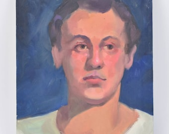 Vintage Oil Painting Portrait of Young Man in White T-Shirt