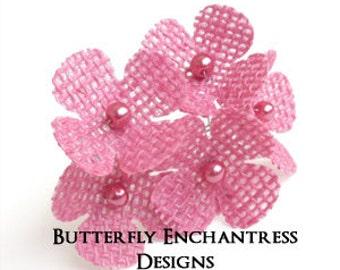 Pink Woodland Hair Flowers, Bridal Hair Accessories, Rustic Burlap Wedding - 6 Dk Pink Burlap Hydrangea