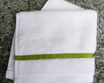 Terry Cotton Wash Cloth with Ribbon Trim