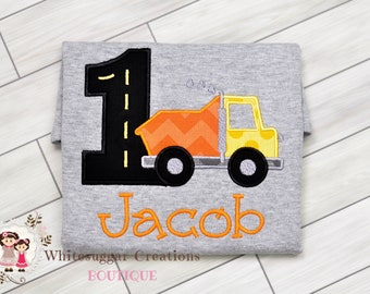 Boy DumpTruck Birthday Shirt, Construction Outfit, Baby First Birthday Party, Toddler Second Birthday, Personalized, Embroidered, Monogram