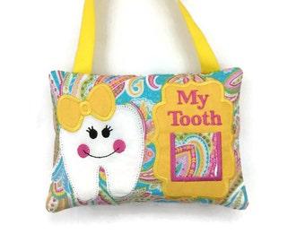 Girl's Tooth Fairy Pillow - Child's Tooth Fairy - Baby Teeth Keepsake - Girl's Bedroom Decor - Tooth Fairy Gift