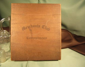 ANTIQUE MERCHANTS CLUB 1933 Cigar Box,American made antique cigar box from Maryland,Compartments Sturdy antique wood cigar box from Maryland