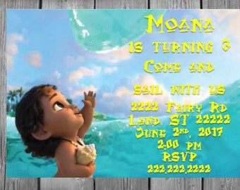 Baby Moana With The Ocean Disney Princess Invitation Personalized Multi Size Option Physical or Printable Digital Custom