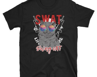 SWAT Swag Cat, T Shirt Gift, Cat Lover Gift, Cat Print, pet swag, Black Cat, Cat Lover t shirt, cat tshirt, cat lovers, funny cat