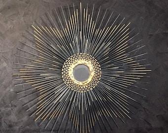 Hollywood Regency Starburst Mirror / Sunburst Mirror 27in  #1020 gold mirror, black mirror, retro mirror, unique mirror, mid century mirror