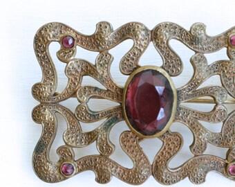 Art Nouveau amethyst glass brass brooch / antique 1910s large serpent brass purple glass pin