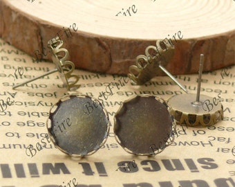 20pcs Antique Solid Brass Earring Posts With Round Cabochon size 12mm