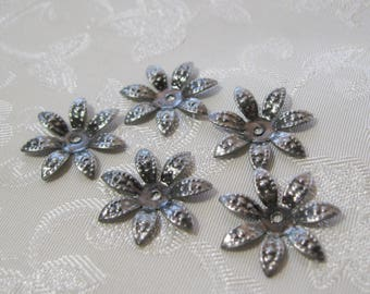 Antique Silver Pointy Daisy Bead Caps Lead Free 338