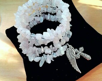 Chip glass beads with Cross/angel wing bracelet