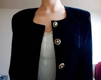 Vintage Collezioni black velvet blazer with gold buttons