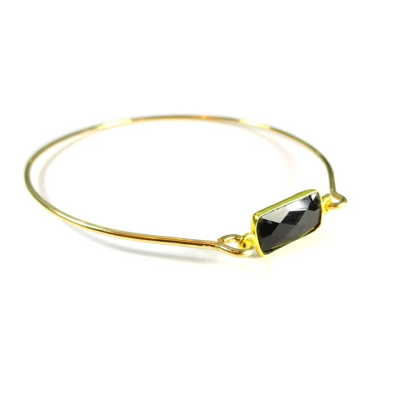 Gold Onyx Bangle Bracelet