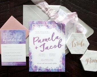 Pamela Lavender/ Ultra Violet Watercolor Wedding Invitation Suite