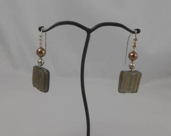 Earrings brown glass bead and silver leaf 20 x 20 mm