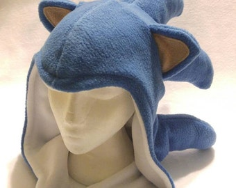 Sonic the Hedgehog Inspired Hood - Handmade Fleece Hat -  Made to Order