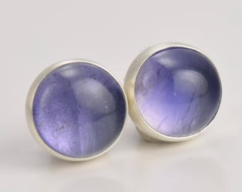 iolite 7mm sterling silver stud earrings