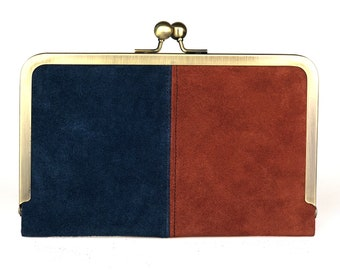 Hold All Leather Wallet in Navy & Terracotta Suede