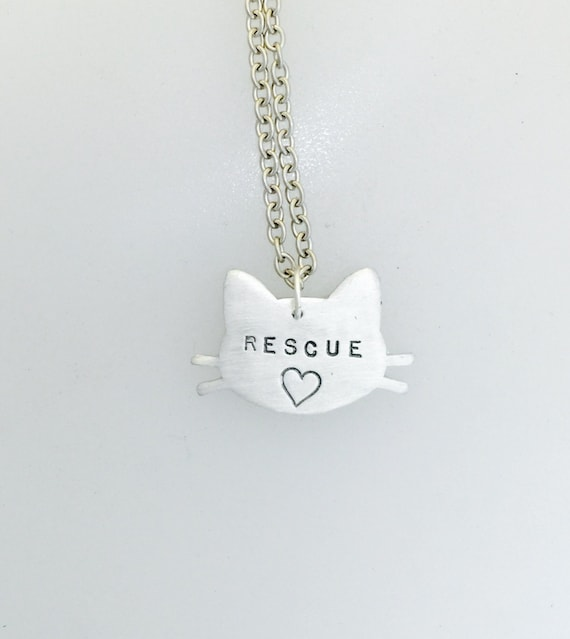 Rescue Cat with Heart Head necklace-Cat Lover-Cat Rescue-Pet Memorial necklace-Cat Lady-Personalized-Vegan Necklace-Valentines Day
