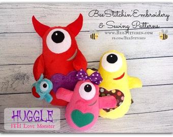 ITH Love Monster Softie - 4 sizes - Embroidery Design - Instant download