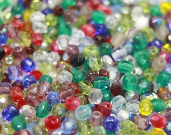Czech Glass Beads, 4mm Fire Polish, Color Mix, 45 Grams