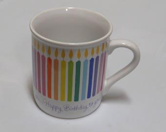 Vintage 80s Hallmark ~ Happy Birthday ~ Candles ~ Coffee Mug