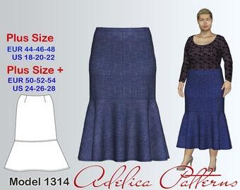 Plus size Skirt Sewing Pattern PDF, Women's  sizes 18-28 , Plus size Long Skirt PDF Instant Download Sewing Pattern