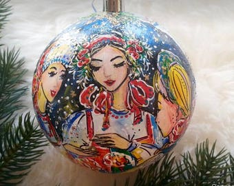 Christmas ball,Christmas tree decoration,Hand-painted Christmas ball,custom portrait,portrait from photo,portrait painting,painting by order