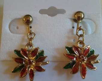Pointsettia Clip-on Earrings
