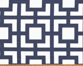 Navy Blue Curtains Geometric Gigi Curtain Panels, Drapes 24W or 50W x 63, 84, 90, 96 or 108L Premier Prints