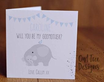 Christening mini card elephant personalised will you be my godfathergodmothergodparent card boy greeting card m4hsunfo