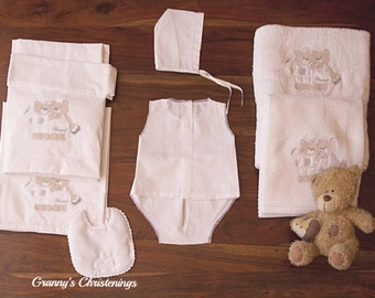 Sweet Teddy Bears Baptismal Collection-Unisex Christening Sets Miropana/Ladopana-Embroidered Soft Towels-Cotton Blanket-Cotton Bed Sheet-Bib