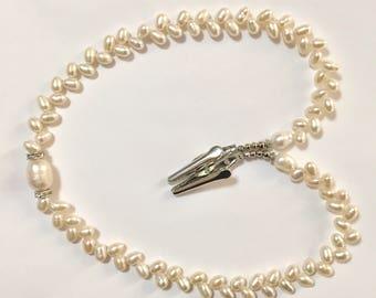 NLH019 White Freshwater Pearls  Napkin Lanyard 4