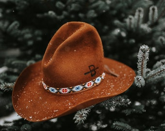 """The """"Hells Half Acre"""" 4X American Hat Co. Gus Style Cowboy Hat 7 1/4 With Native American Hat Band Cattle Brand Western Style Cowboy Cowgirl"""