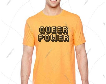 """Unisex - Premium Retail Fit """"Queer Power"""" Pride 2016 Custom print or colour! Inquire! Crew-neck Tee, T-Shirt LGBTQ (S,M, L, XL+)"""