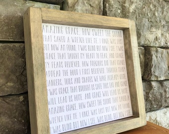 Amazing Grace Hymn Framed Wall Art