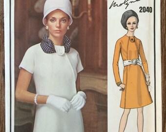 UNCUT Vintage 1960's Dress Sewing Pattern Vogue 2040 Vogue Paris Original by Molyneux