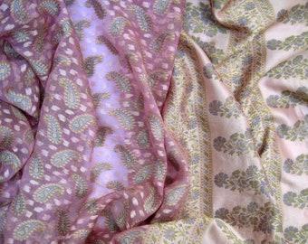 Sari Vintage Sari Pink Paisley Indian Ethno Recycling Nr. 2