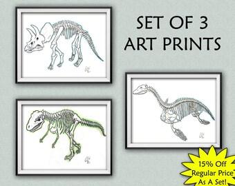 Art Print Set, Dinosaur Art Print Set, Dinosaur Skeleton Decor, Home Decor, Wall Art, set of 3, wall art set, dinosaur bones