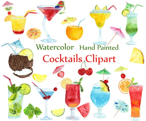 Watercolor Cocktails clipart: SUMMER CLIPART