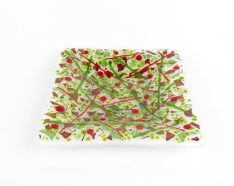 Fused glass dish, green and red dish, party dish, serving dish