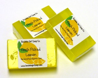 Fresh Picked Lemon Mini GUEST BAR SLS Detergent Free Handmade Glycerin Soap