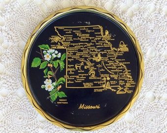 Souvenir Metal Round Tray With a Map of Missouri