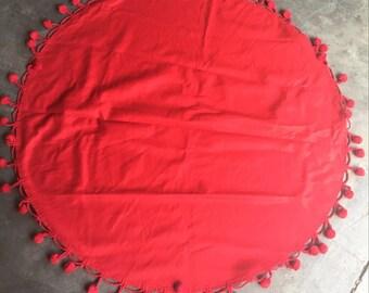 Red Pom Pom Tablecloth/Throw