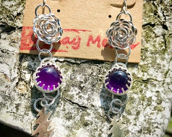Sterling Silver and Amethyst Rose and Bolt Earrings, Grateful Dead Jewelry