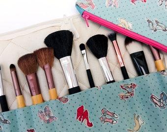 Makeup brush organiser and bag, brush holder and bag set, green brush holder, blue brush holder, sister gift, green gift, blue gift