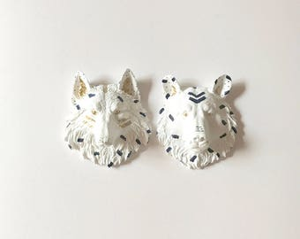 Set of 2 FunFeTTi Small WOLF and BEAR in White Navy and Gold Faux Taxidermy animal head wall mount faux mini animal head Nursery wall Kids