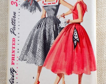 Simplicity 3453 Vintage Dress Pattern 1950s Bust 30 Square neck pilgrim collar fit and flare Belted Retro ribbon teen prom party prom dress